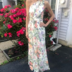 Chiffon one shoulder printed floral gown w/ slit